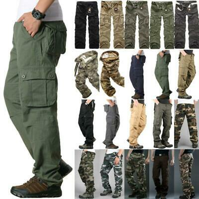 Men's Long Trousers Cargo Pants Tactical Combat Military Army Casual Work Cotton
