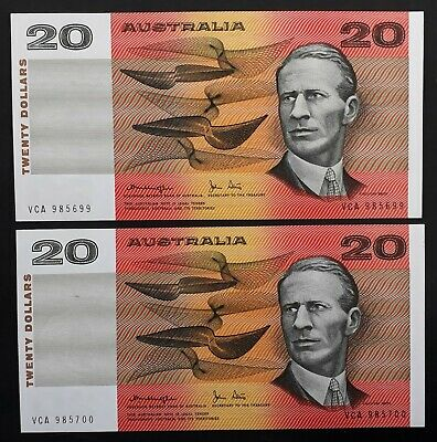 1979 Australia $20.00 Consecutive Pair Knight Stone Gothic Serial Type Banknotes