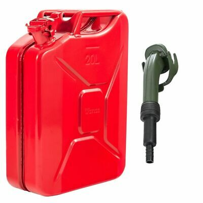 Red 20 Litre Metal Jerry Can For Fuel / Petrol / Diesel / Gas / Oil And Spout