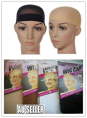 2x Hair Net Wig Cap for Wearing Wigs Soft Stocking Fabric Control Hair 4 Colours