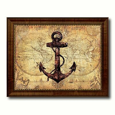 Anchor Nautical Vintage Map Canvas Print with Picture Frame Ocean Office Home