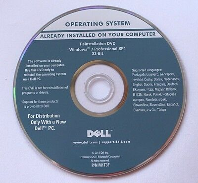 Reinstallation DVD MS Windows 7 Professional SP1 32-Bit Dell integrierter Key
