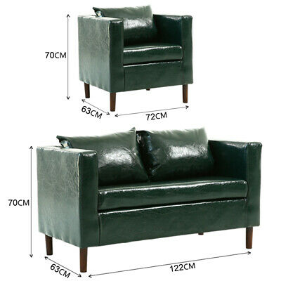 Faux Leather Sofa Couch 2+1 Seater Tub Armchair Sofa Set Compact Size Sofa Suite