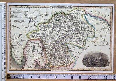 Old Victorian Colour Map Westmorland: 1840 Pigot: Historical, Antique: Reprint