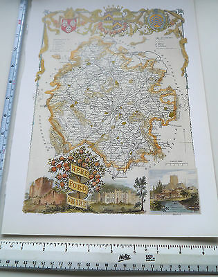 "Old Antique colour map Herefordshire England: c1830's: Moule: 9.5"" x 12"" Repro"