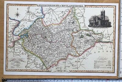 Old Victorian Colour Map Leicestershire: 1840 Pigot Historical, Antique: Reprint
