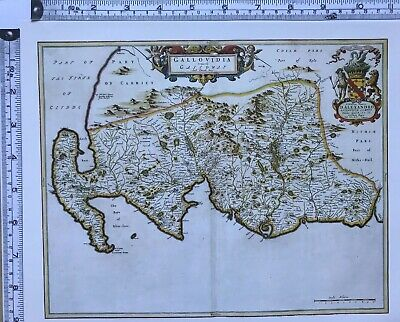 Historic Antique vintage Old Map: Galloway, Wigtownshire Scotland 1600s REPRINT