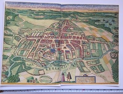 Old Antique Historic Map Odense, Denmark: 1598 Braun & Hogenberg REPRINT 1500's