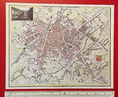 """Old Antique colour map Manchester & Salford, England: 1800's: 12"""" x 9"""" reprint"""