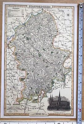 Old Victorian Colour Map Staffordshire: 1840 Pigot: Historical, Antique: Reprint