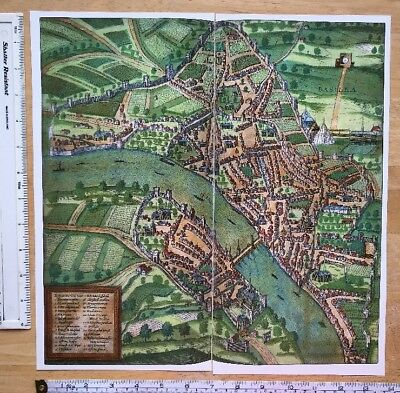 Old Colour Map of Basel, Switzerland: 1575 by Braun & Hogenberg REPRINT 1500's