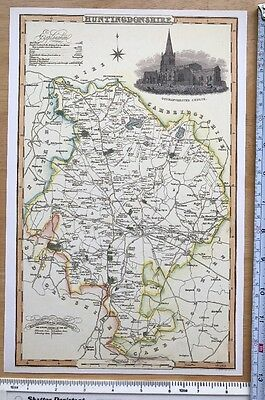 Old Victorian Colour Map Huntingdonshire: 1840 Pigot Historical, Antique Reprint