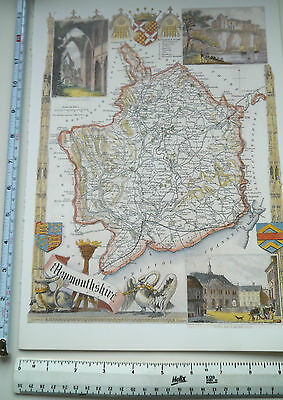 "Old Antique colour map Monmouthshire, England: c1830's: 9.5"" x 12"" Reprint"