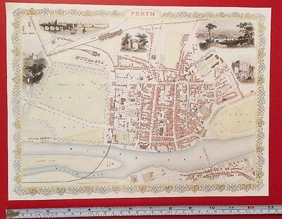 1800/'s 1851 Tallis Reprint Old Antique map /& Vignettes of Manchester England