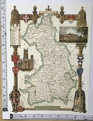 Old Vintage Antique colour map Cambridgeshire, England: c1830's: Moule: Reprint