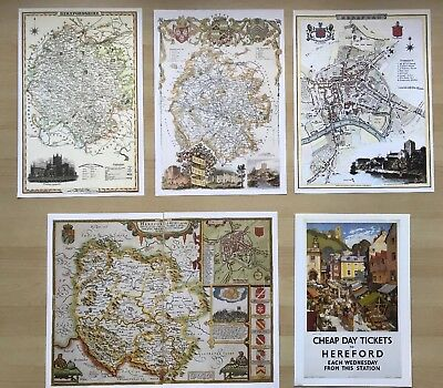 HEREFORD, Herefordshire: 4 x Antique maps PLUS vintage railway poster Reprints