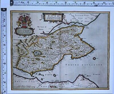 Historic Antique vintage Old Map: Fife, Loch Levin, Tay,  Scotland 1600s REPRINT