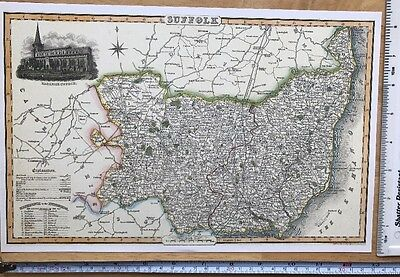 Old Victorian Colour Map of Suffolk: 1840 Pigot: Historical, Antique: Reprint
