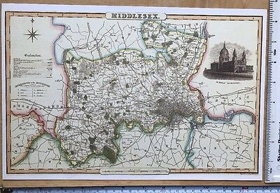 Old Victorian Colour Map of Middlesex: 1840 Pigot: Historical, Antique: Reprint