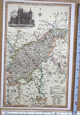 UK 1840 Pigot Reprint Antique Historical Old Victorian Map of Oxfordshire