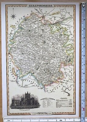 Old Victorian Colour Map Herefordshire: 1840 Pigot: Historical, Antique: Reprint