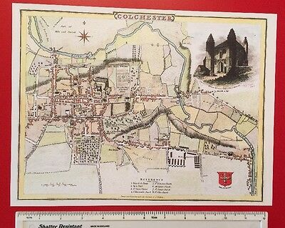 "Old Antique colour map of Colchester, England: early 1800's: 12"" x 9"" Reprint"