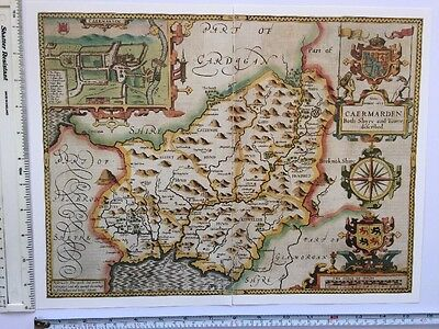 "Old Tudor map of Carmarthenshire, Wales: John Speed 1600's 15"" x 11"" (Reprint)"