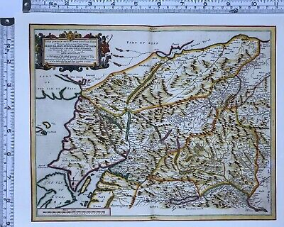 Historic Antique vintage Old Map: Central Highlands, Scotland 1600s REPRINT
