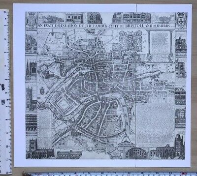 Antique vintage historical map 1700s: Bristol, UK: Millerd 12 X 11 Reprint 1710c