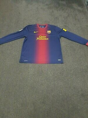 size 40 77311 825aa FC BARCELONA LONG Sleeve Home Football Shirt 2012/2013 Extra Large