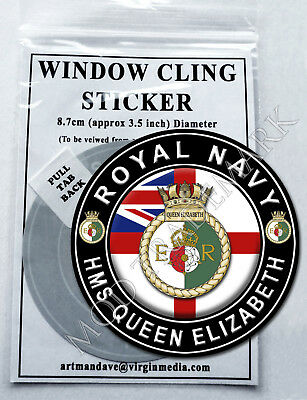 ROYAL NAVY - HMS QUEEN ELIZABETH, WINDOW CLING STICKER  8.7cm Diameter