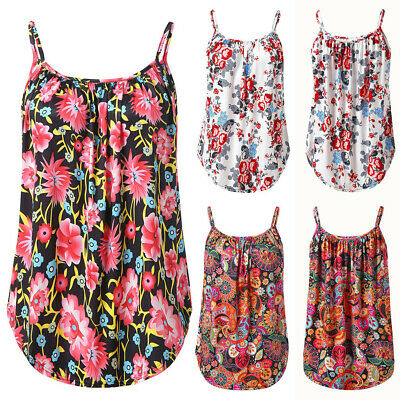 Women Stylish Printed Camis Vest Sleeveless Blouse Tank Tops Swing Camisole Tops