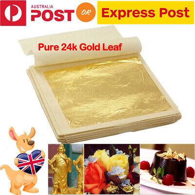 Pure 24k Gold Leaf Sheet Foil Food Grade Edible Decorating Art Crafting Art NEW