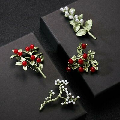 Fashion Crystal Pearl Plant Brooch Pin Thin Green Women Costume Badge Jewelry