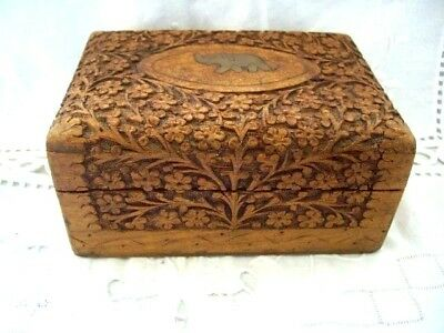 ANTIQUE Indian Egyptian Wood hand carved hand made trinket box jewellery
