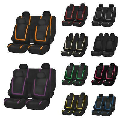 9Pcs Universal Car Seat Covers Full Set Front&Rear Seat Back Head Rest Protector