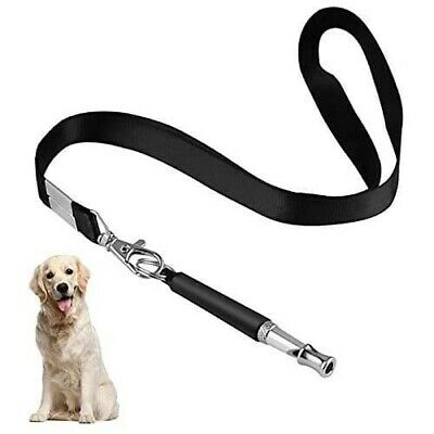 Dog Whistle with Lanyard BLACK Adjustable Frequency Puppy Trainer UK seller