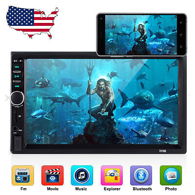 "2 DIN 7"" Bluetooth Car Stereo Radio MP5 Player HD Touch Screen USB FM Vehicle US"