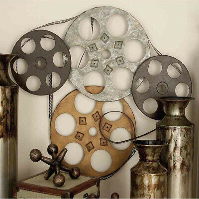 Old Time Movie Reel Retro Wall Art Sculpture Galvanized Iron, Vintage Industrial
