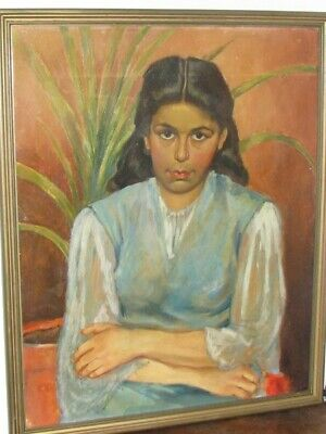 IRMIN HENKEL(1921-1977) Young woman with red flower, South AFRICAN-ART, Pretoria