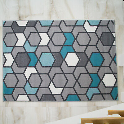 NEW Blue Duck Egg Grey Modern Geometric Large Small Cheap Living Room Soft Rug