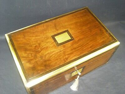 Lge Antique Walnut Document Box Lock & Key c1860 Brass Edged ,Center & Key Plate