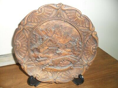 Antique Black Forest Wood Wall Plate.