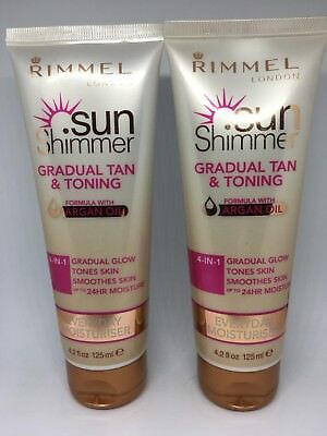 2 X Rimmel 4-in-1 Sun Shimmer Gradual Tan & Toning Everyday Moisturiser 125ml