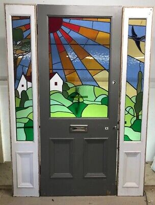 Victorian Stained Glass Front Door + Panels Reclaimed Old Antique Period Leaded