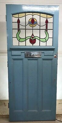 LARGE 20 30s ART DECO FRONT DOOR RECLAIMED WOOD LEADED STAINED GLASS PERIOD OLD