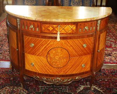 3Best Inlaid French Demi Lune Commode Buffet Sideboard Server C1920s MINT