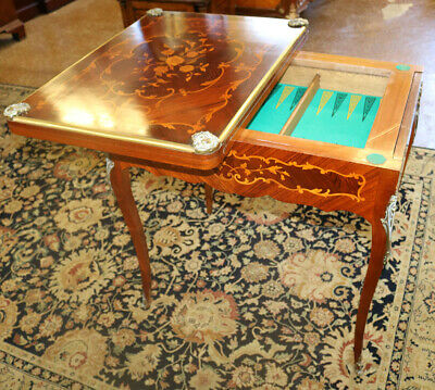 Early Restored French Games Table Inlaid King Wood & Satinwood Backgammon MINT