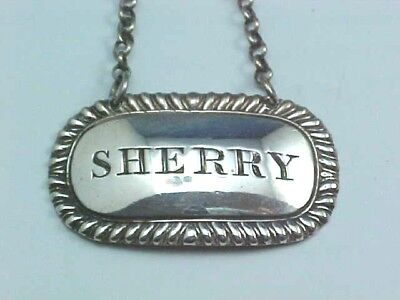 "SCOTTISH STERLING SILVER DECANTER WINE LABEL ""SHERRY"" GEORGE McHATTIE EDINBURGH"