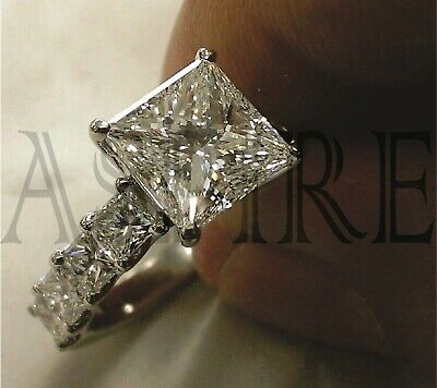 Solid 14k white Gold 3.45 ct Princess cut Engagement Solitaire Diamond Ring
